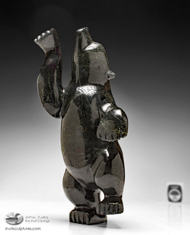 "10"" Dancing Black Bear by Mosesee Pootoogook"