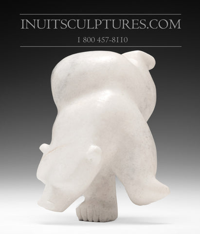 "8"" White Marble Diving Bear by Mosesee Pootoogook"