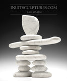 "19"" Carrara Marble Masterful Inukshuk by Paul Bruneau"