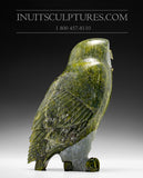 "9"" Apple Green Owl by Pitseolak Qimirpik"