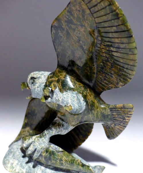 "Museum Quality 8.25"" Eagle with Fish by Pitseolak Qimirpik"