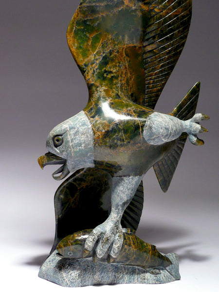 "Museum Quality 15"" Eagle with Fish by Pitseolak Qimirpik"