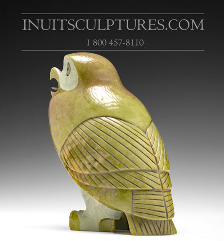 "RESERVED** 7"" Very Original Stone Owl by Pitseolak Qimirpik"