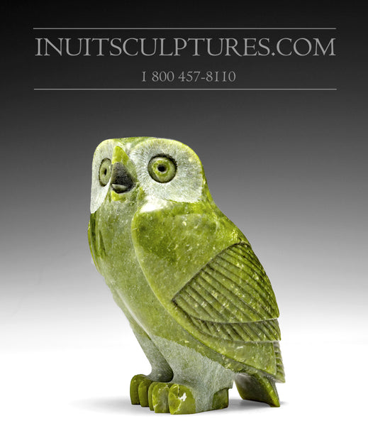 "5.5"" Green Owl by Pitseolak (Pits) Qimirpik"