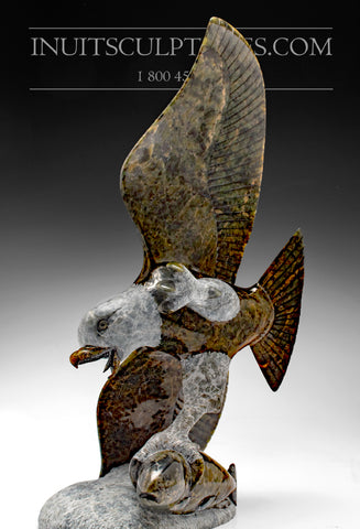 "Museum Quality 13"" Brown Eagle with Fish by Pitseolak Qimirpik"