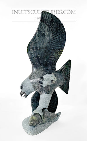 "RESERVED** 12"" Rare Covid Series Eagle with Fish by Pitseolak Qimirpik"