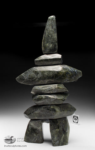 "21"" Dark and Powerful Inukshuk by Qavavau Shaa"