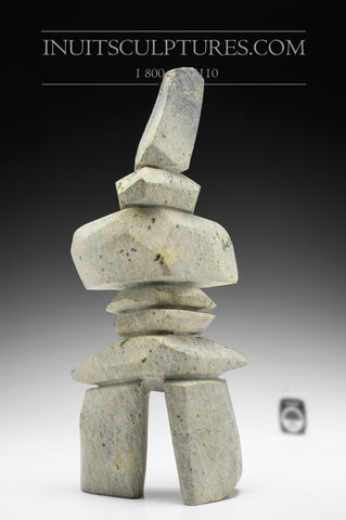 "12"" Pale Colored Inukshuk by Qavavau Shaa"