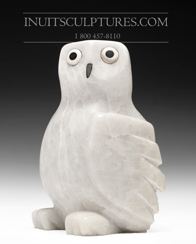 "7"" Snowy White Owl with Inlay Eyes and Beak by Sam Qiatsuk"