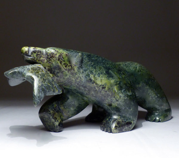 "8"" Emerald Green Bear with Fish by Allan Sheutiapik"