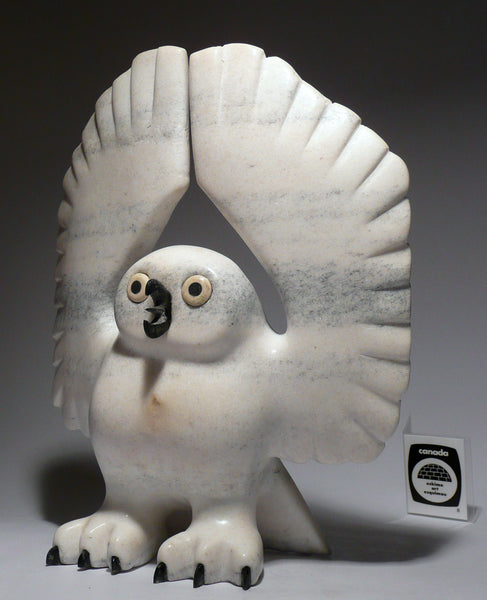 "9.5"" Startled Owl by Temela Pitsiulak (from Iqaluit Exhibition)"