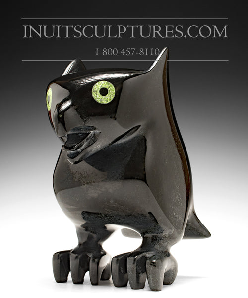 "RESERVED** 12"" Pure Black Dragon Owl Spirit by Toonoo Sharky"