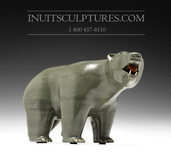 "12"" Bear with Inlay Claws and teeth Famous Jimmy Iqaluq"