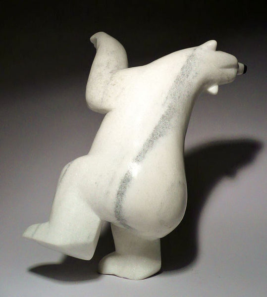 "10"" White Dancing Bear by Johnny Manning"