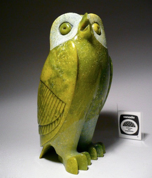 Apple Green Owl by Pitseolak Qimirpik