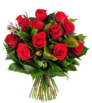 12 Red Roses Hand-Tied - Fresh Blooms Flowers