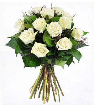 12 White Roses Hand-Tied - Fresh Blooms Flowers
