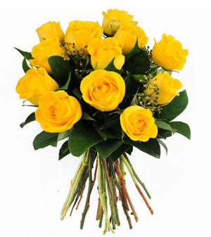 12 Yellow Roses Hand-Tied - Fresh Blooms Flowers