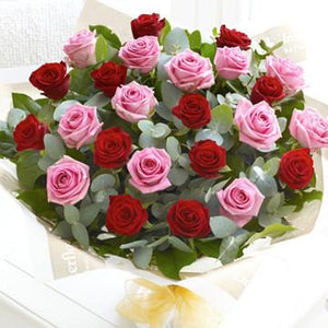 24 Red & Pink Roses Bouquet - Fresh Blooms Flowers