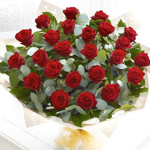 24 Red Roses Bouquet - Fresh Blooms Flowers