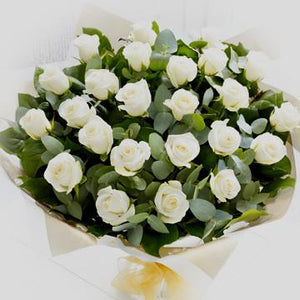 24 White Roses Bouquet - Fresh Blooms Flowers