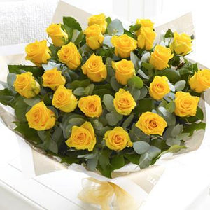 24 Yellow Roses Bouquet - Fresh Blooms Flowers
