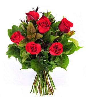 6 Roses Hand-Tied - Fresh Blooms Flowers