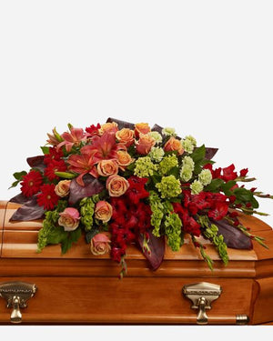 A Fond Farewell Casket Spray - Fresh Blooms Flowers