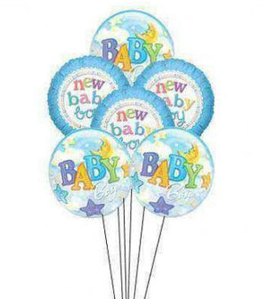Baby Boy Balloon Bunch - Mylars & Bubble