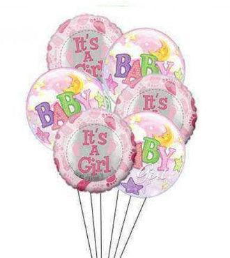 Baby Girl Balloon Bunch - Mylars & Bubble