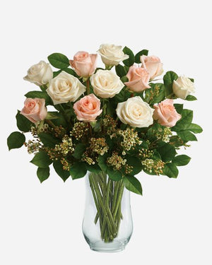 Dozen Peach & White Roses - Fresh Blooms Flowers