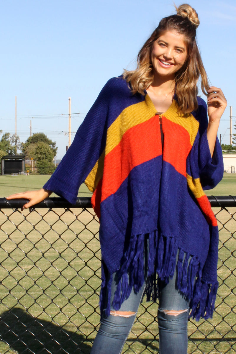 PRE-ORDER Mystify Knit NAVY RED & GOLD - Bijou The Label | Bohemian | Maternity Fashion | ONE SIZE FITS ALL | Kaftan | Poncho | Kimono | Cape