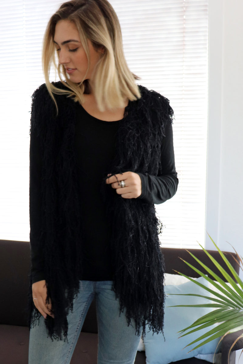 Bowie Shaggy Jacket BLACK