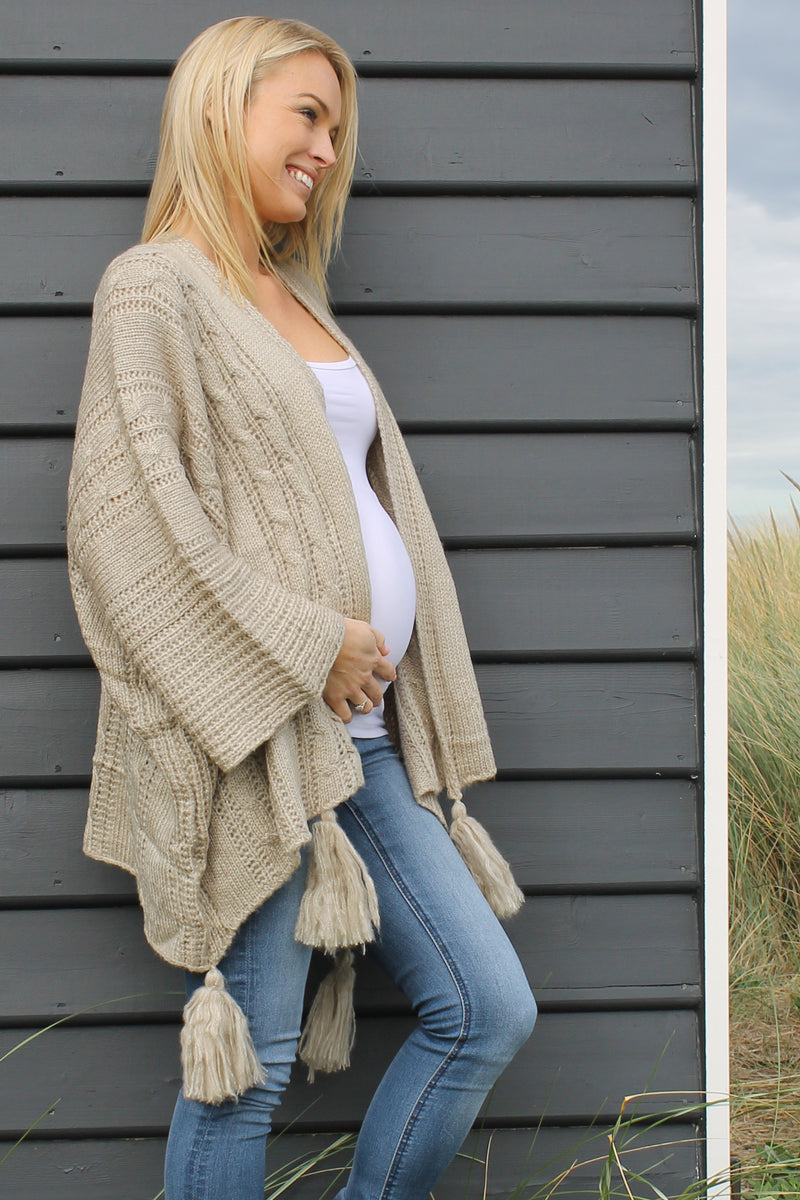 Luna Knit BEIGE - Bijou The Label | Bohemian | Maternity Fashion | ONE SIZE FITS ALL | Kaftan | Poncho | Kimono | Cape
