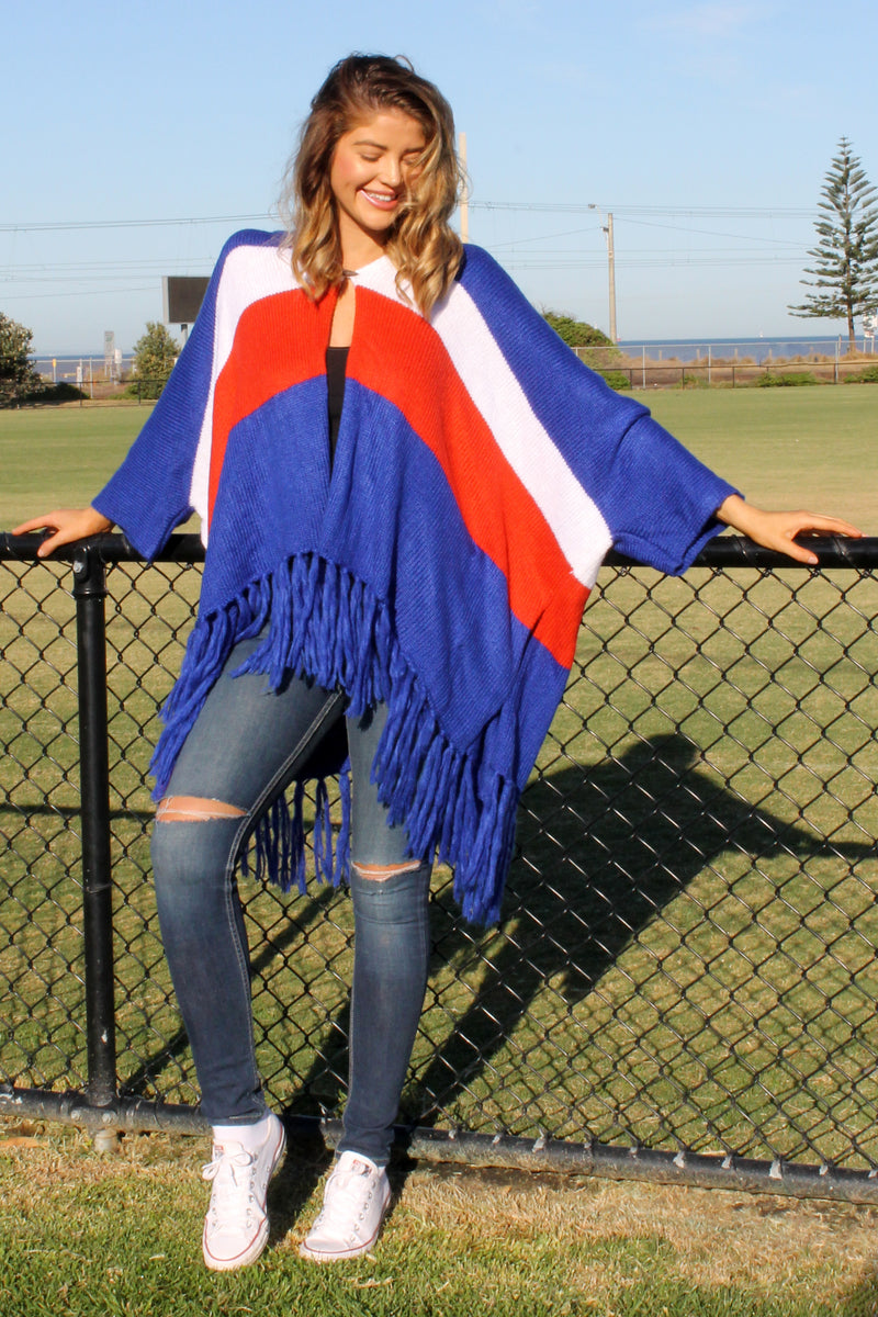 PRE-ORDER Mystify Knit BLUE RED & WHITE - Bijou The Label | Bohemian | Maternity Fashion | ONE SIZE FITS ALL | Kaftan | Poncho | Kimono | Cape
