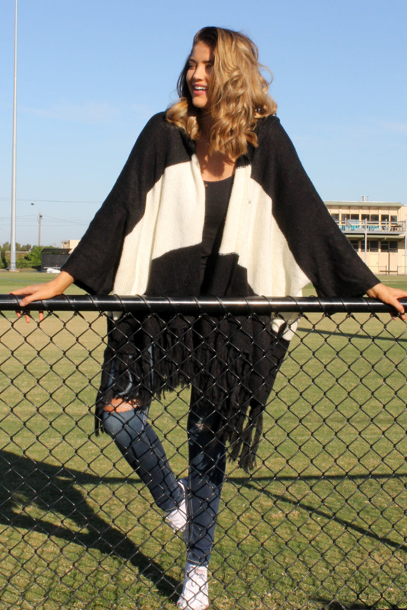 PRE-ORDER Mystify Knit BLACK & WHITE - Bijou The Label | Bohemian | Maternity Fashion | ONE SIZE FITS ALL | Kaftan | Poncho | Kimono | Cape
