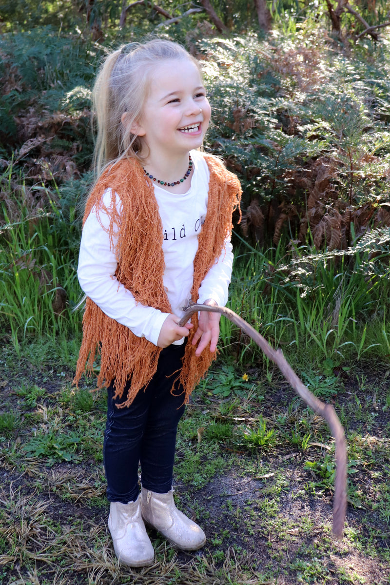 Mini Bowie Shaggy Vest BURNT ORANGE