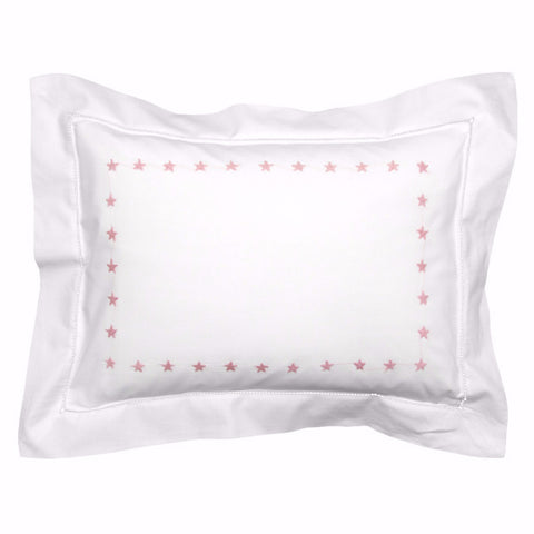 mini pink star border pillowcase
