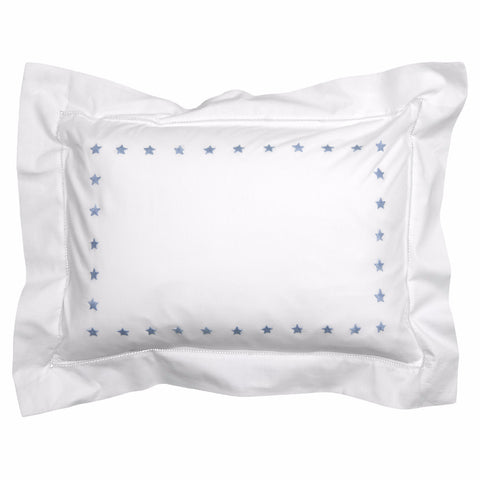 mini blue star border pillowcase