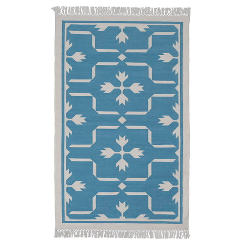 Blue Floral Hand Woven Rug