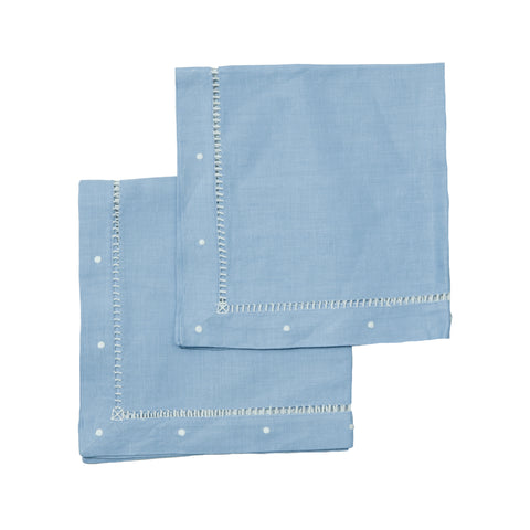 Sky Blue Linen Napkins - Set of 4