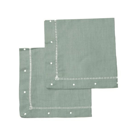 olive green dot linen napkins