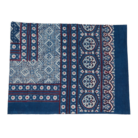Indigo and Cream Ajrak Bedspread/Tablecloth