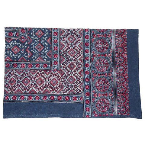 Indigo and Red Ajrak Bedspread/Tablecloth