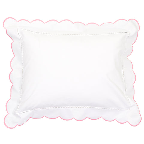 Scalloped Edge Baby Pillowcase Pink
