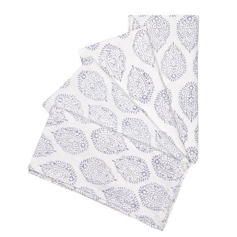 Grey Leaf Print Napkins - Set of 4