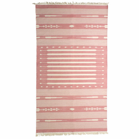 Pink & White Hand Woven Rug
