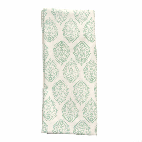Green Leaf Print Napkins - Set of 4