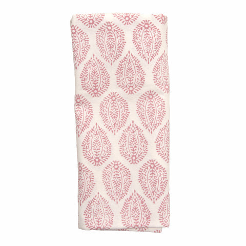 Pink Leaf Print Napkins - Set of 4