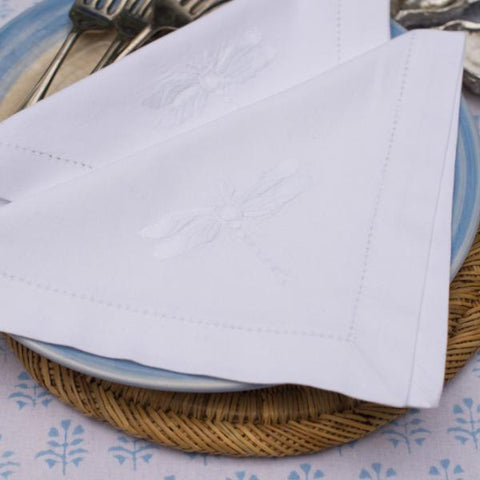 White Dragonfly Napkins - Set of 4